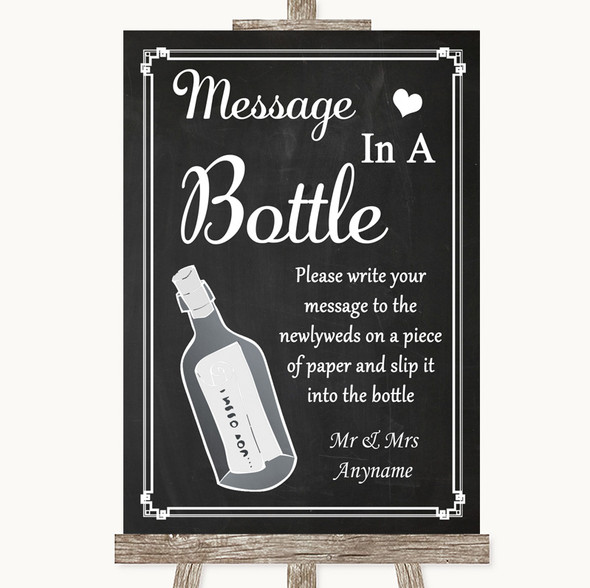 Chalk Style Message In A Bottle Personalised Wedding Sign