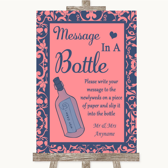 Coral Pink & Blue Message In A Bottle Personalised Wedding Sign