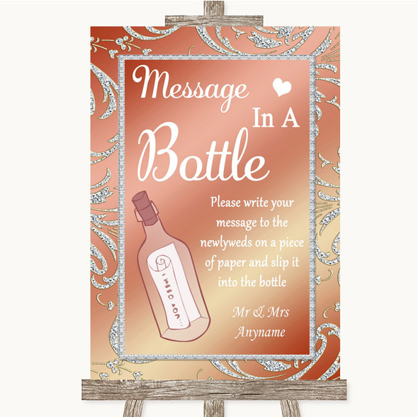 Coral Pink Message In A Bottle Personalised Wedding Sign
