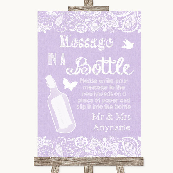 Lilac Burlap & Lace Message In A Bottle Personalised Wedding Sign