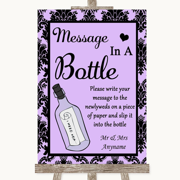 Lilac Damask Message In A Bottle Personalised Wedding Sign