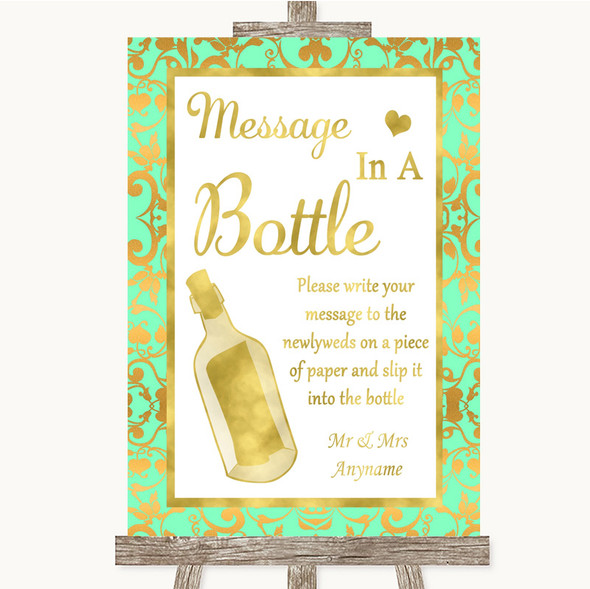 Mint Green & Gold Message In A Bottle Personalised Wedding Sign
