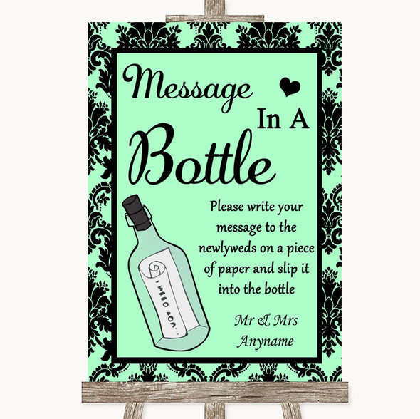 Mint Green Damask Message In A Bottle Personalised Wedding Sign