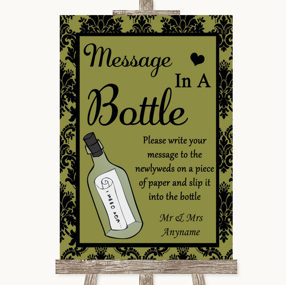 Olive Green Damask Message In A Bottle Personalised Wedding Sign