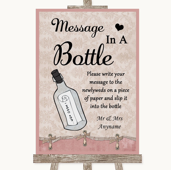 Pink Shabby Chic Message In A Bottle Personalised Wedding Sign