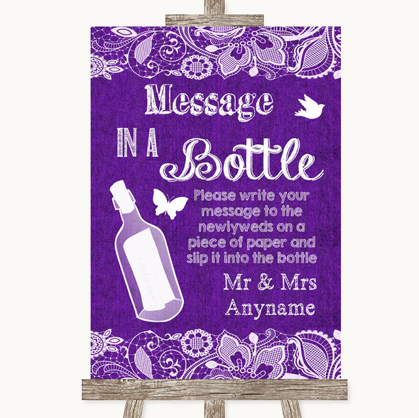 Purple Burlap & Lace Message In A Bottle Personalised Wedding Sign