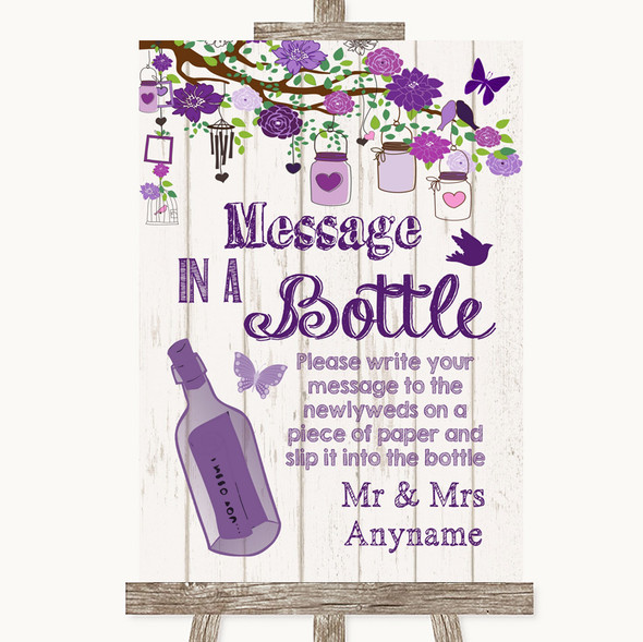 Purple Rustic Wood Message In A Bottle Personalised Wedding Sign
