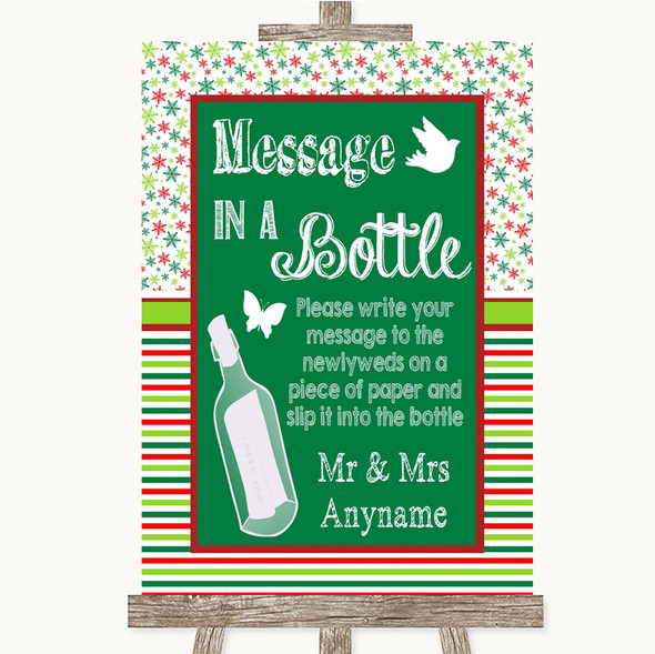 Red & Green Winter Message In A Bottle Personalised Wedding Sign