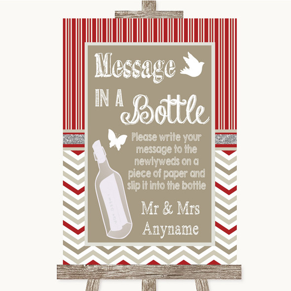 Red & Grey Winter Message In A Bottle Personalised Wedding Sign