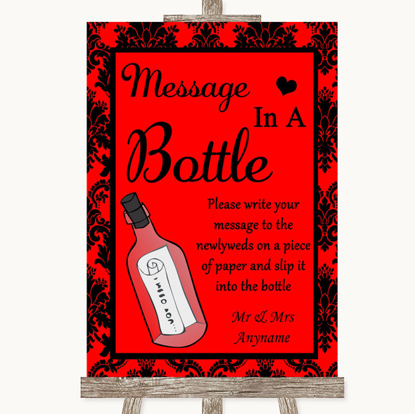 Red Damask Message In A Bottle Personalised Wedding Sign