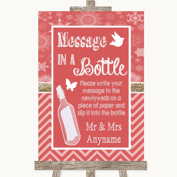 Red Winter Message In A Bottle Personalised Wedding Sign
