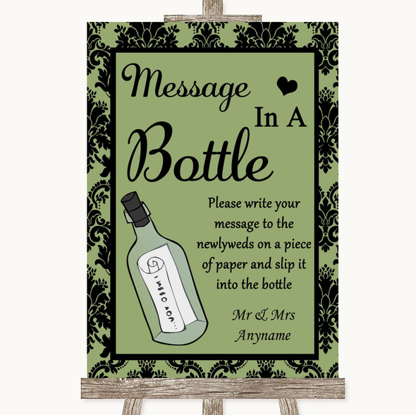 Sage Green Damask Message In A Bottle Personalised Wedding Sign