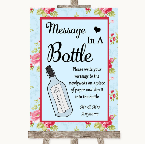 Shabby Chic Floral Message In A Bottle Personalised Wedding Sign