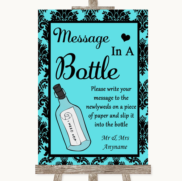 Tiffany Blue Damask Message In A Bottle Personalised Wedding Sign