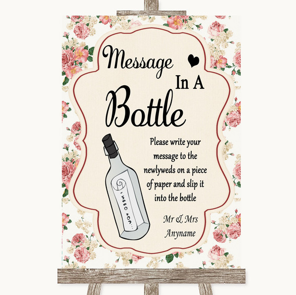Vintage Roses Message In A Bottle Personalised Wedding Sign