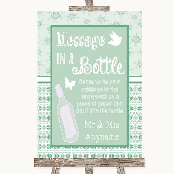 Winter Green Message In A Bottle Personalised Wedding Sign