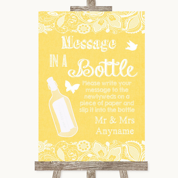 Yellow Burlap & Lace Message In A Bottle Personalised Wedding Sign