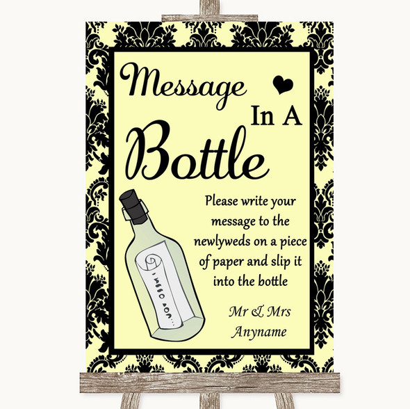 Yellow Damask Message In A Bottle Personalised Wedding Sign