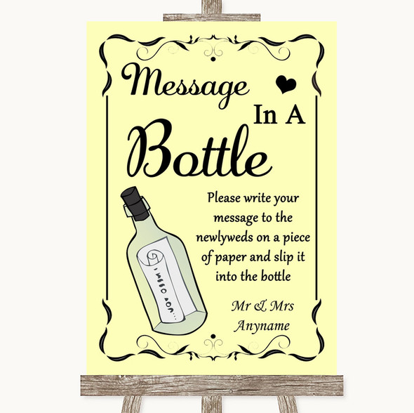 Yellow Message In A Bottle Personalised Wedding Sign