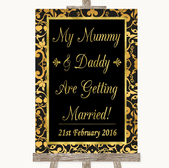 Black & Gold Damask Mummy Daddy Getting Married Personalised Wedding Sign