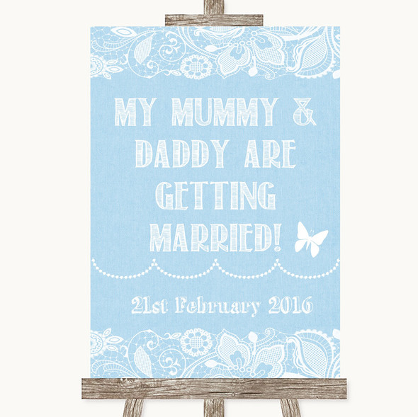 Blue Burlap & Lace Mummy Daddy Getting Married Personalised Wedding Sign