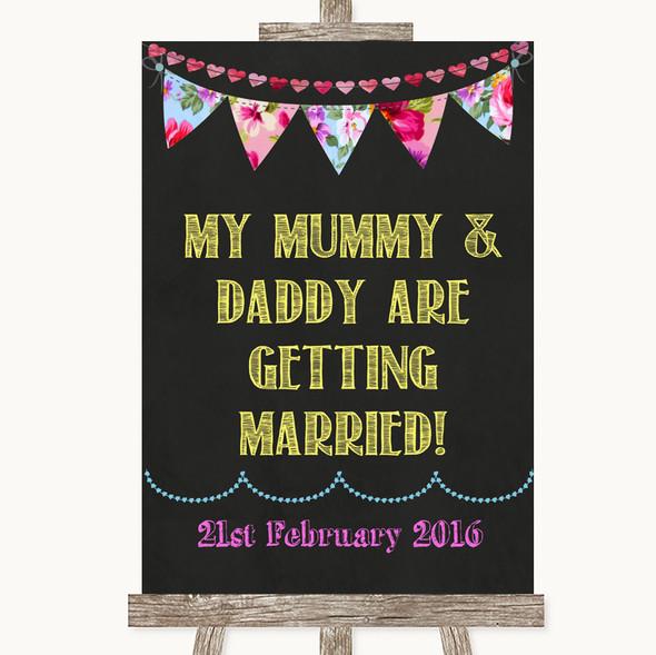 Bright Bunting Chalk Mummy Daddy Getting Married Personalised Wedding Sign