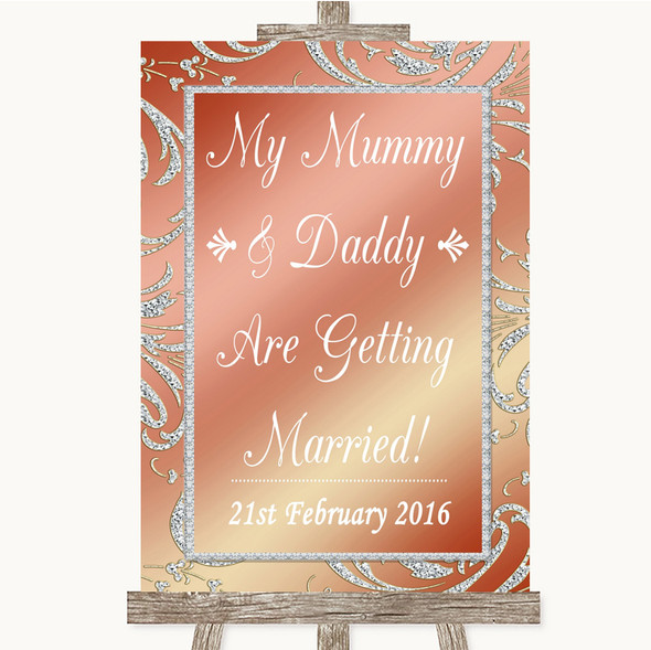 Coral Pink Mummy Daddy Getting Married Personalised Wedding Sign