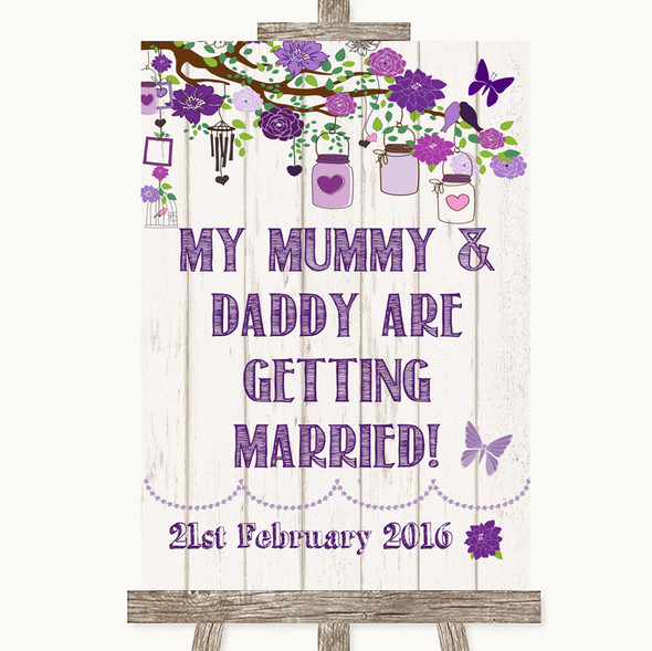 Purple Rustic Wood Mummy Daddy Getting Married Personalised Wedding Sign