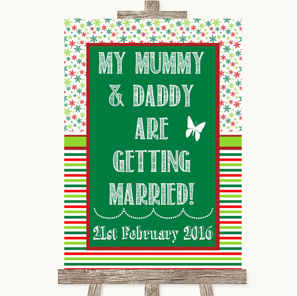 Red & Green Winter Mummy Daddy Getting Married Personalised Wedding Sign