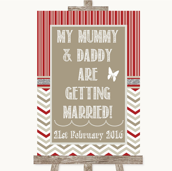 Red & Grey Winter Mummy Daddy Getting Married Personalised Wedding Sign