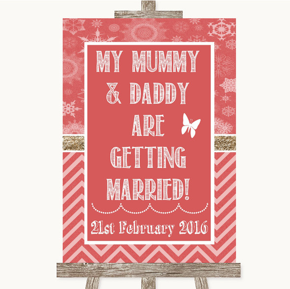 Red Winter Mummy Daddy Getting Married Personalised Wedding Sign