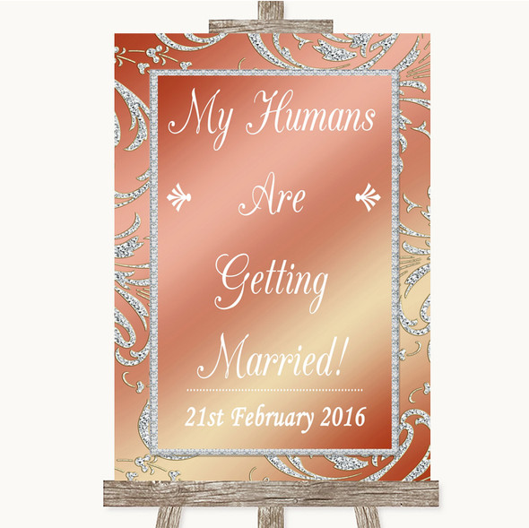 Coral Pink My Humans Are Getting Married Personalised Wedding Sign