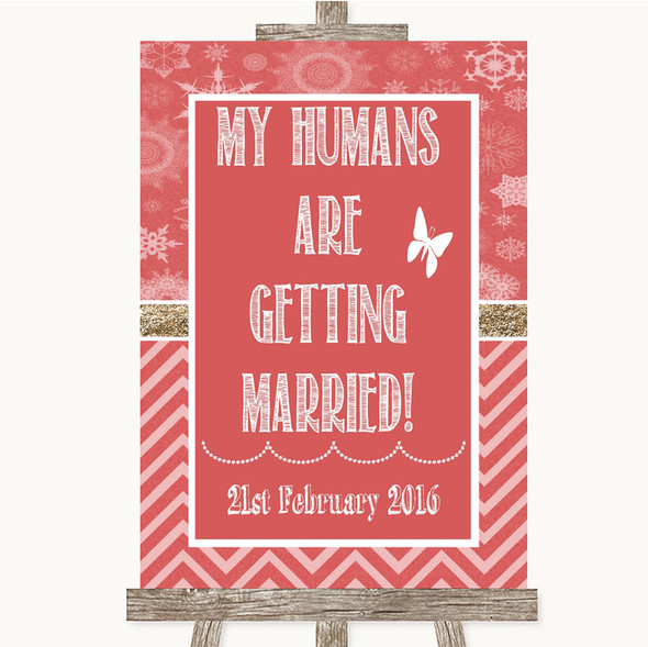 Red Winter My Humans Are Getting Married Personalised Wedding Sign