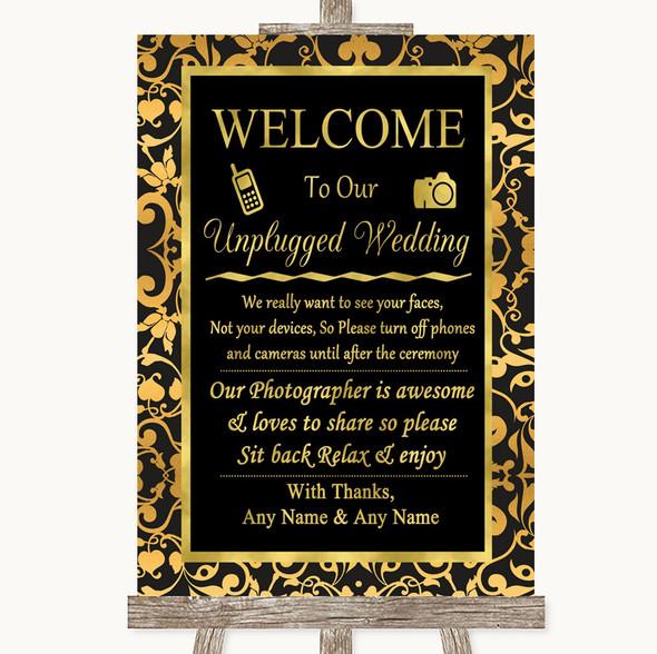Black & Gold Damask No Phone Camera Unplugged Personalised Wedding Sign