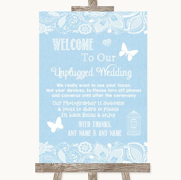 Blue Burlap & Lace No Phone Camera Unplugged Personalised Wedding Sign