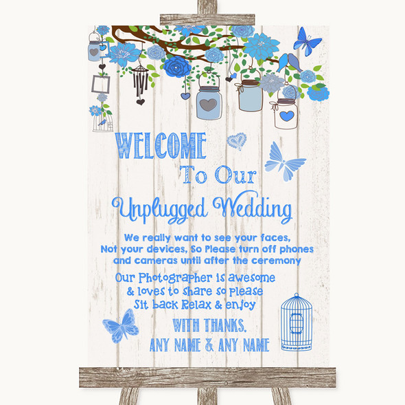 Blue Rustic Wood No Phone Camera Unplugged Personalised Wedding Sign