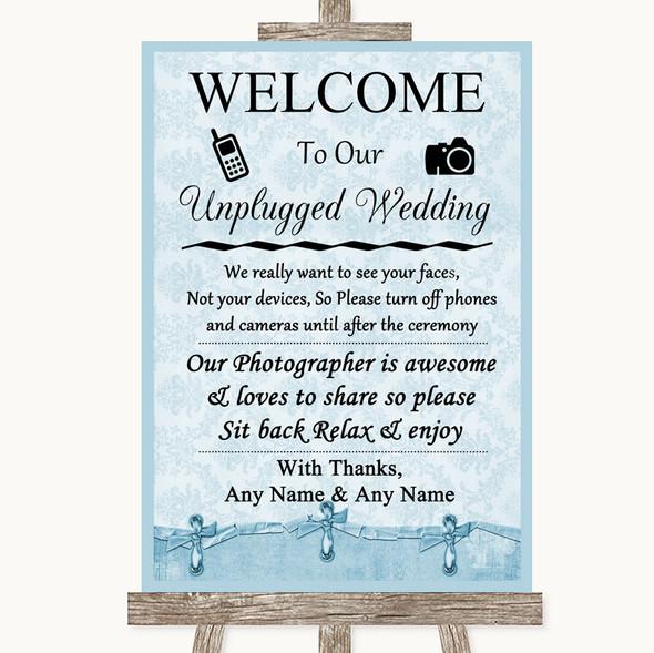 Blue Shabby Chic No Phone Camera Unplugged Personalised Wedding Sign