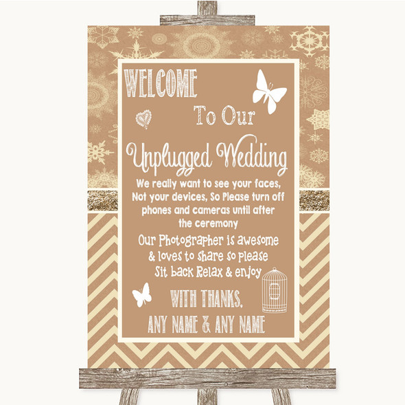Brown Winter No Phone Camera Unplugged Personalised Wedding Sign