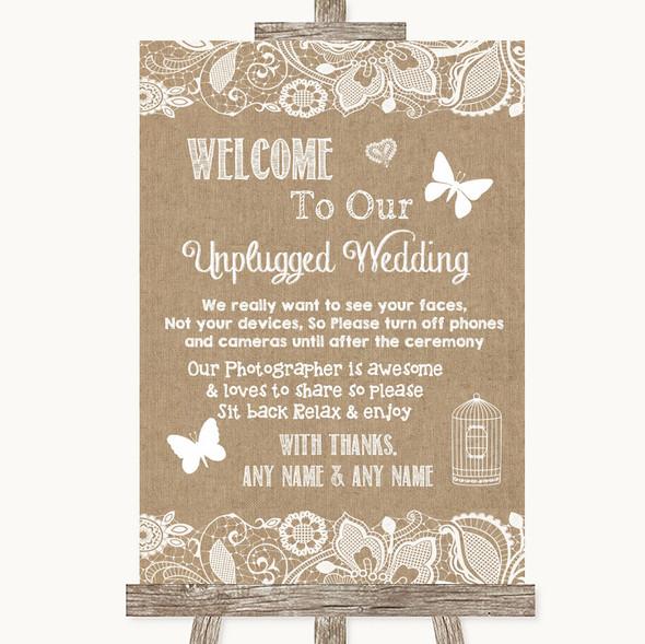 Burlap & Lace No Phone Camera Unplugged Personalised Wedding Sign