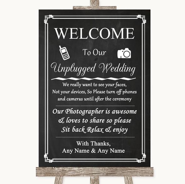 Chalk Style No Phone Camera Unplugged Personalised Wedding Sign