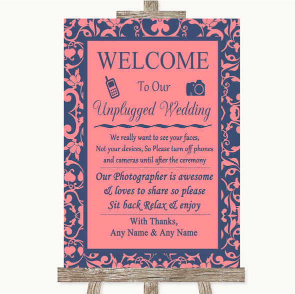 Coral Pink & Blue No Phone Camera Unplugged Personalised Wedding Sign