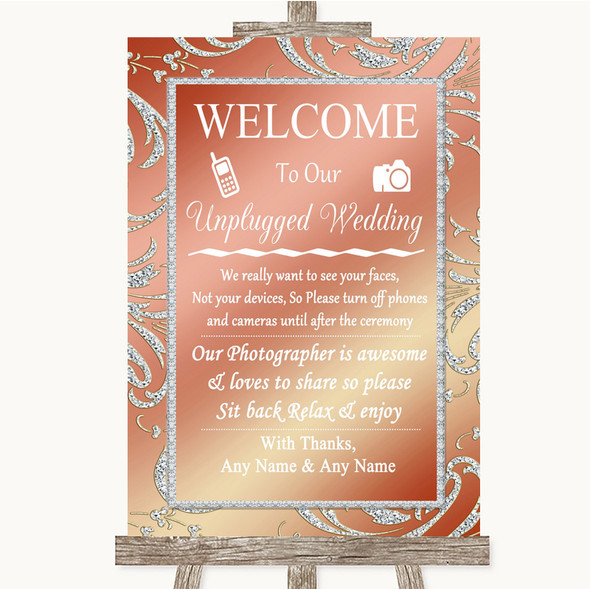 Coral Pink No Phone Camera Unplugged Personalised Wedding Sign