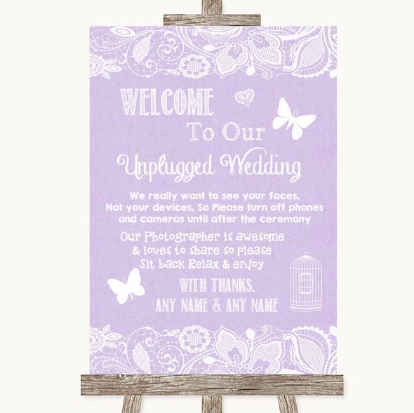Lilac Burlap & Lace No Phone Camera Unplugged Personalised Wedding Sign