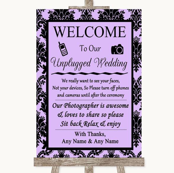 Lilac Damask No Phone Camera Unplugged Personalised Wedding Sign