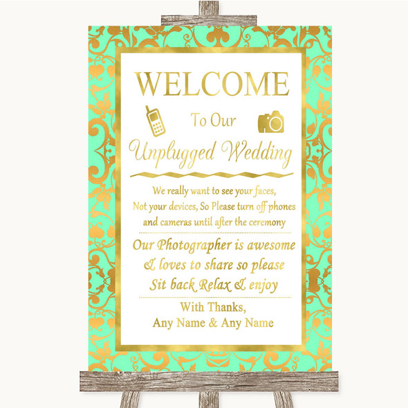 Mint Green & Gold No Phone Camera Unplugged Personalised Wedding Sign