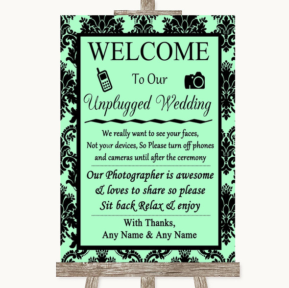 Mint Green Damask No Phone Camera Unplugged Personalised Wedding Sign