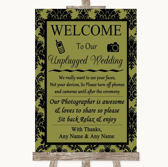 Olive Green Damask No Phone Camera Unplugged Personalised Wedding Sign