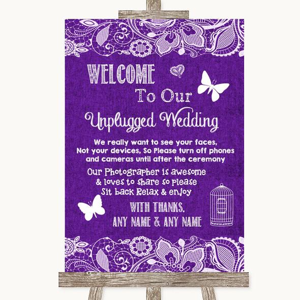 Purple Burlap & Lace No Phone Camera Unplugged Personalised Wedding Sign