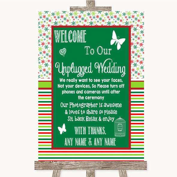 Red & Green Winter No Phone Camera Unplugged Personalised Wedding Sign