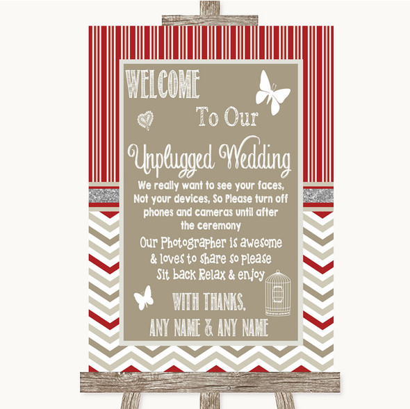 Red & Grey Winter No Phone Camera Unplugged Personalised Wedding Sign